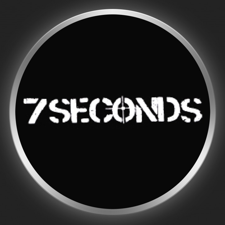 7 SECONDS - White Logo On Black Button