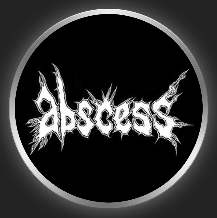 ABSCESS - White Logo On Black Button