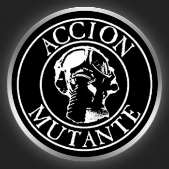 ACCION MUTANTE - White Logo On Black Button