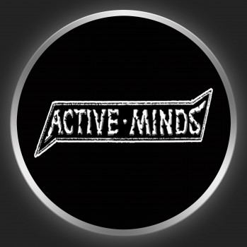 ACTIVE MINDS - White Logo On Black Button