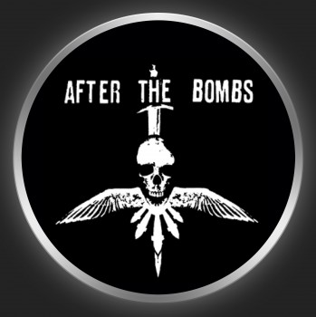 AFTER THE BOMBS - White Logo + Skull On Black Button