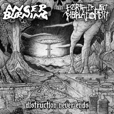 ANGER BURNING / EARTH CRUST DISPLACEMENT - Distruction Never Ends Split LP