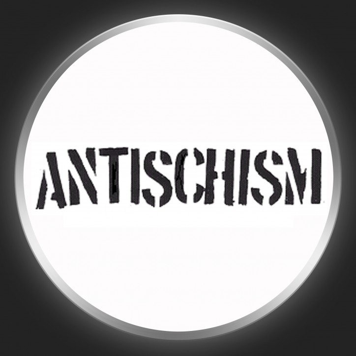 ANTISCHISM - Black Logo On White Button