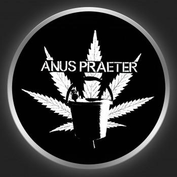 ANUS PRAETER - White Logo On Black Button