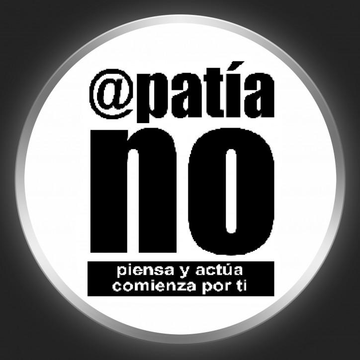 APATIA NO - Black Logo On White Button