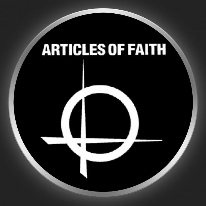 ARTICLES OF FAITH - White Logo On Black Button
