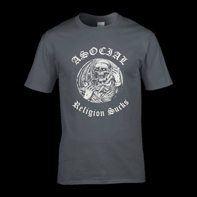 ASOCIAL - Religions Sucks Girlie T-Shirt (L)