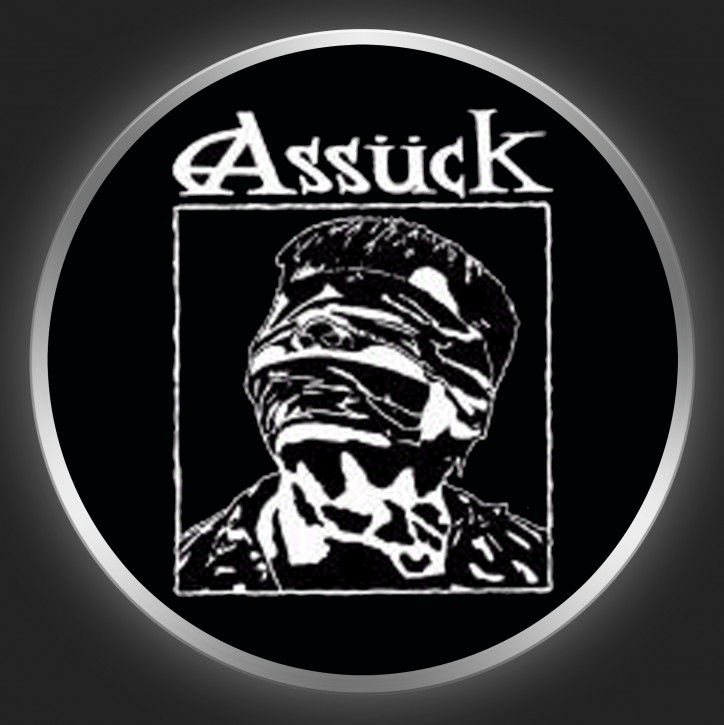 ASSÜCK - Anti-Capital White On Black Button