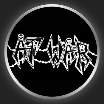 AT WAR - White Logo On Black Button