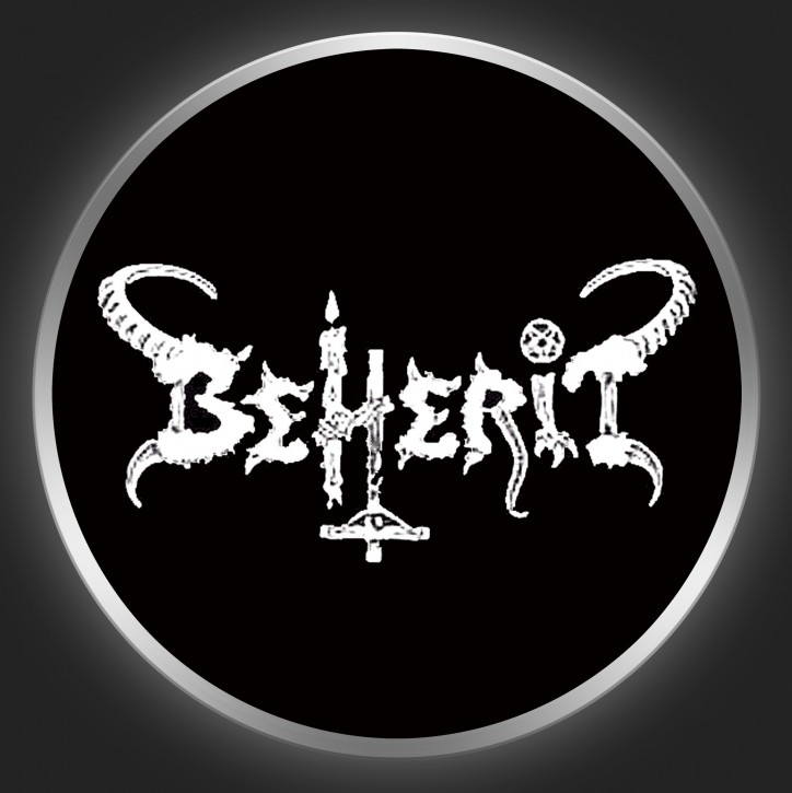 BEHERIT - White Logo On Black Button