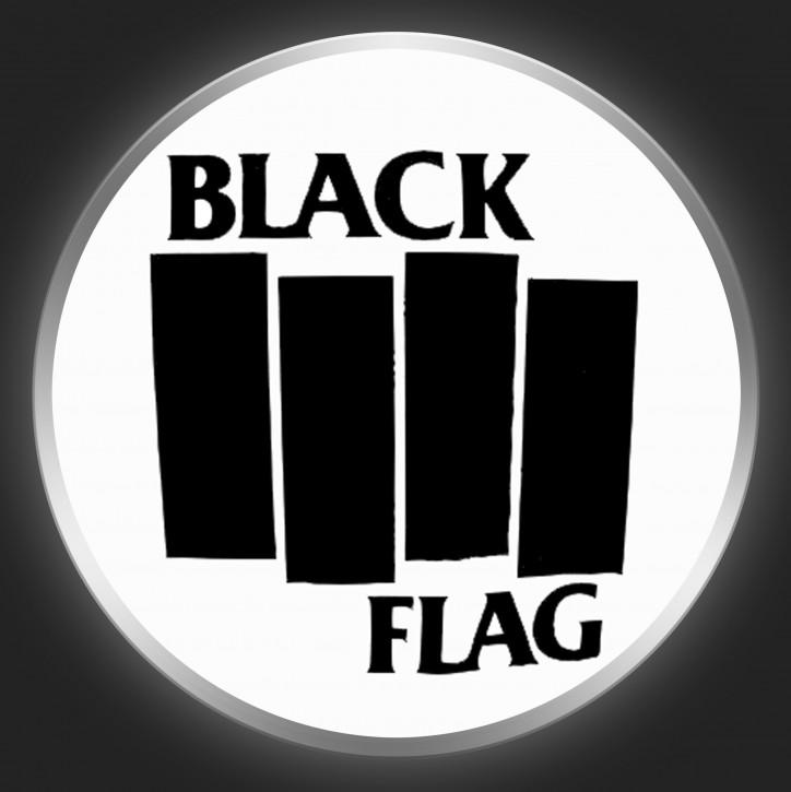 BLACK FLAG - Black Logo 1 On White Button
