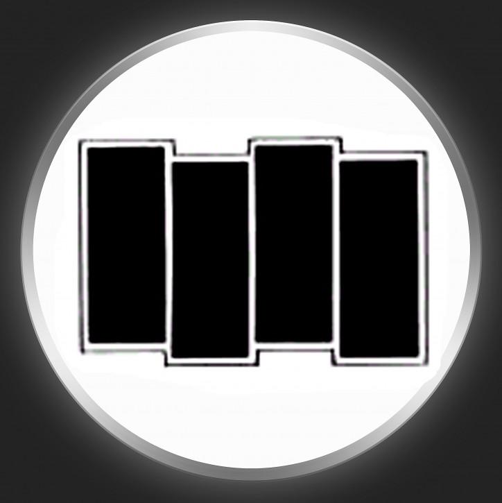 BLACK FLAG - Black Logo 2 On White Button