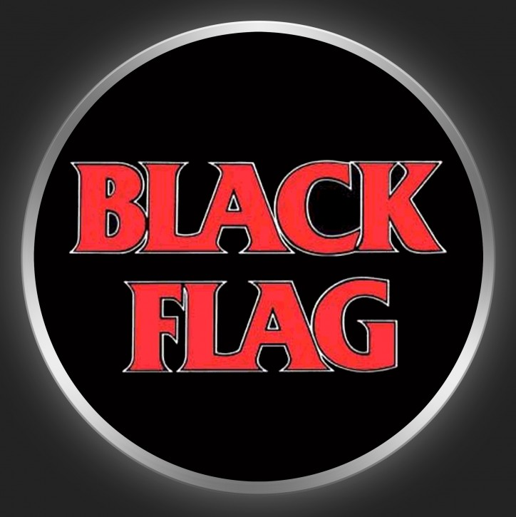 BLACK FLAG - Red Logo On Black Button
