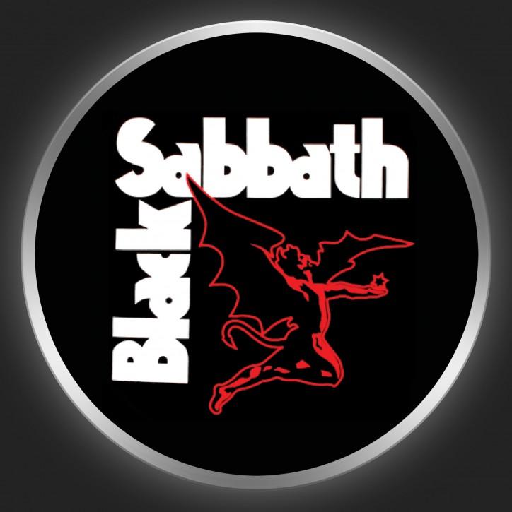 BLACK SABBATH - White Logo + Devil On Black Button