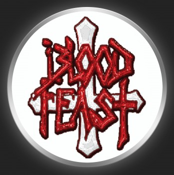 BLOOD FEAST - Red Logo + Cross On White Button