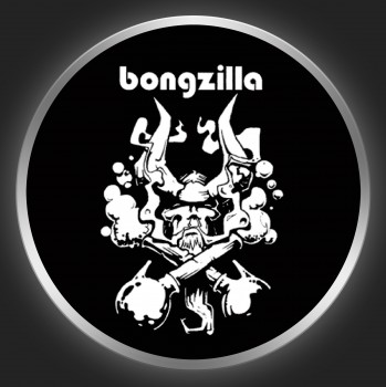 BONGZILLA - White Logo + Devil On Black Button