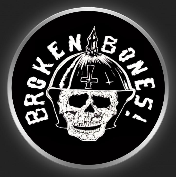 BROKEN BONES - White Logo And Skull 1 On Black Button