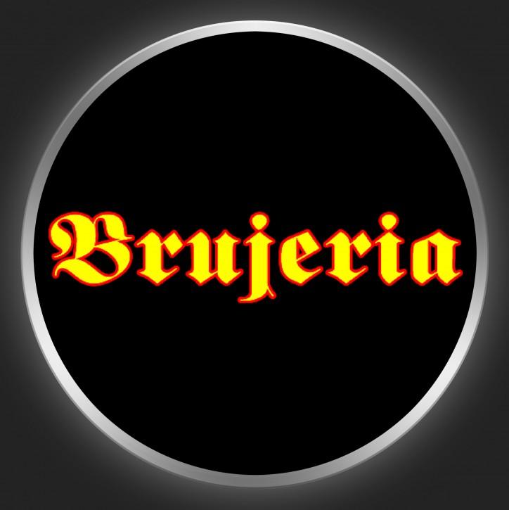BRUJERIA - Yellow Logo On Black Button