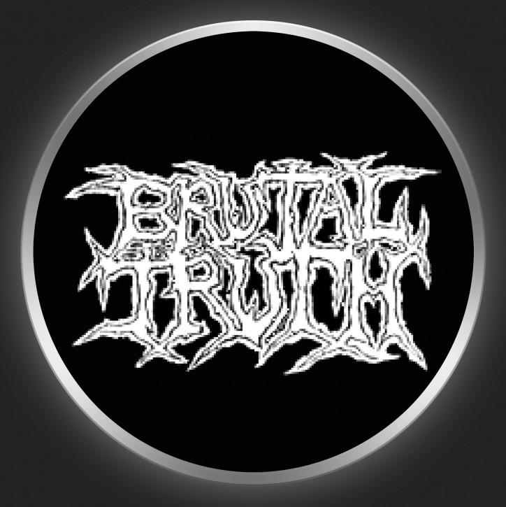 BRUTAL TRUTH - White Logo On Black Button