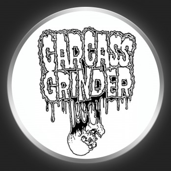 CARCASS GRINDER - Black Logo On White Button