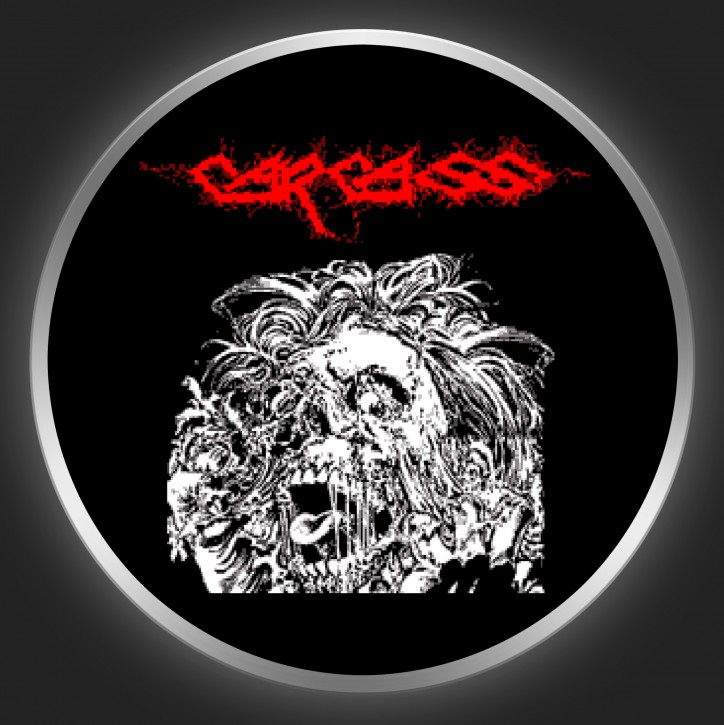 CARCASS - Skull + Red Logo Button