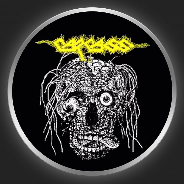 CARCASS - Skull + Yellow Logo Button