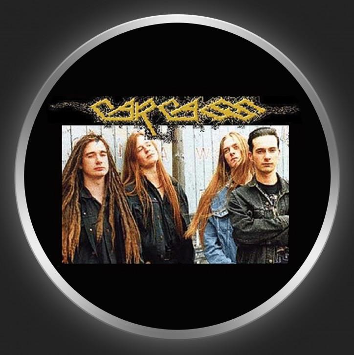 CARCASS - Yellow Logo + Band Photo Button