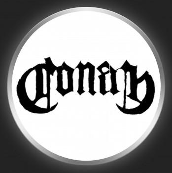 CONAN - Black Logo On White Button