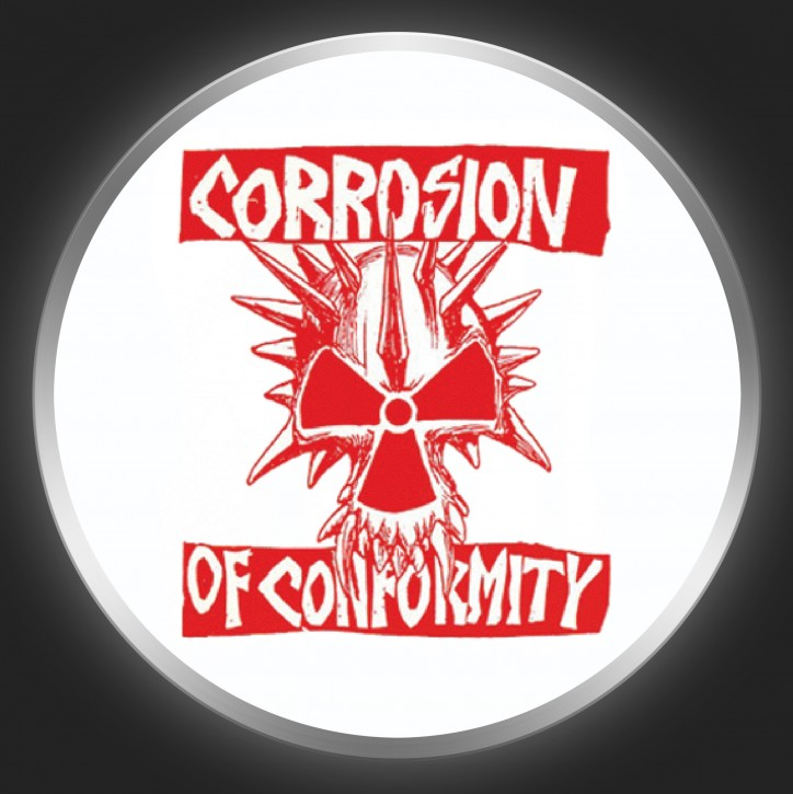 CORROSION OF CONFORMITY - Red Logo + Skull On White Button