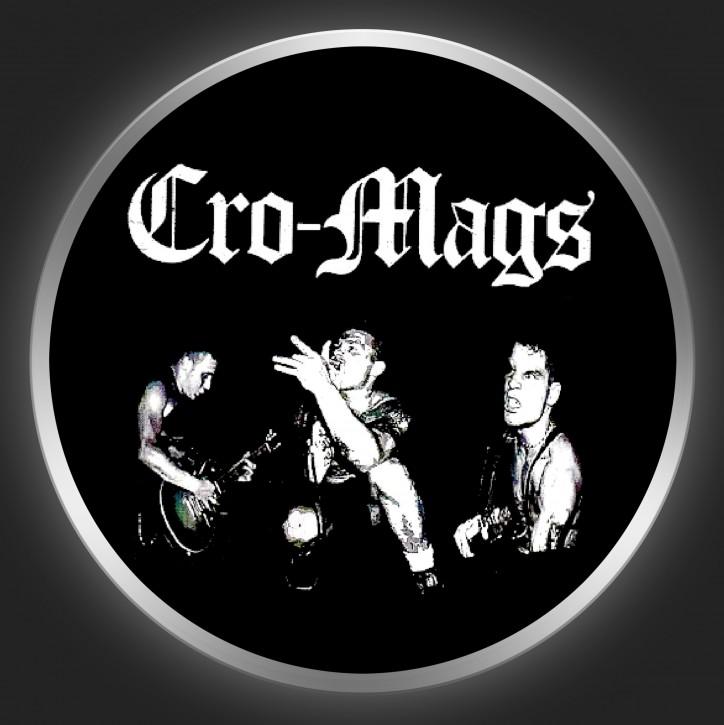 CRO-MAGS - White Logo + Band Photo On Black Button