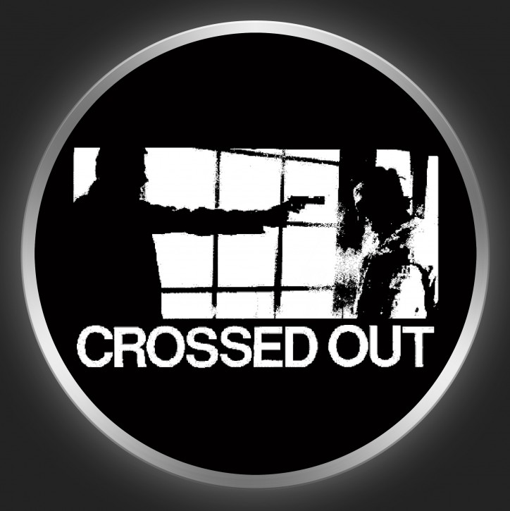 CROSSED OUT - White Logo On Black Button