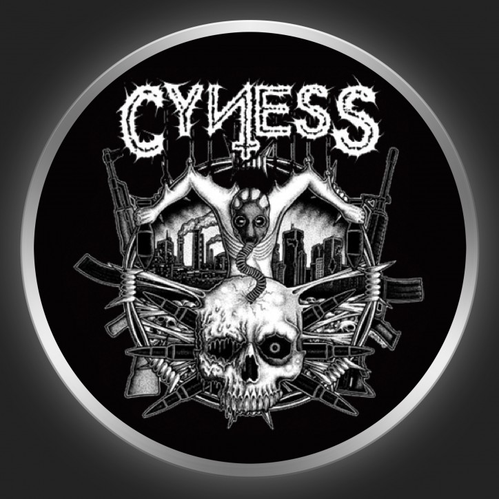 CYNESS - White Logo On Black Button