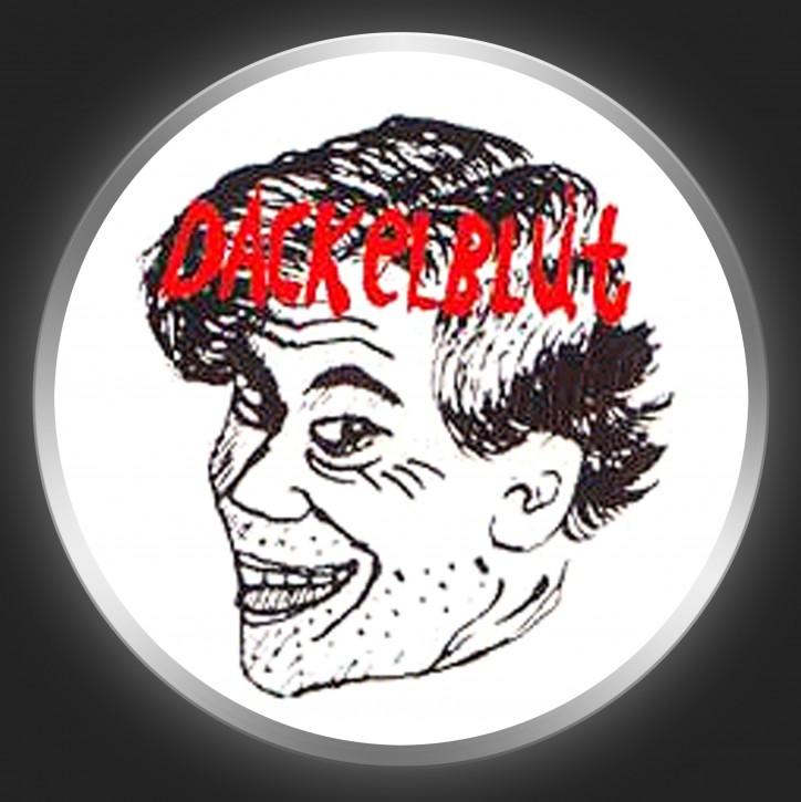 DACKELBLUT - Red Logo + Head On White Button