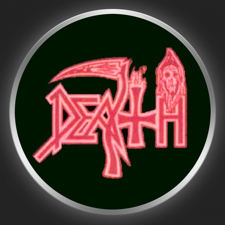 DEATH - Red Logo On Black Button