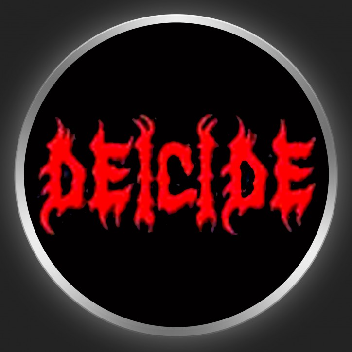 DEICIDE - Red Logo On Black Button