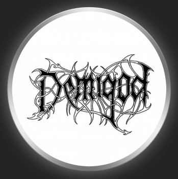 DEMIGOD - Black Logo On White Button