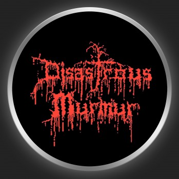 DISASTROUS MURMUR - Red Logo On Black Button