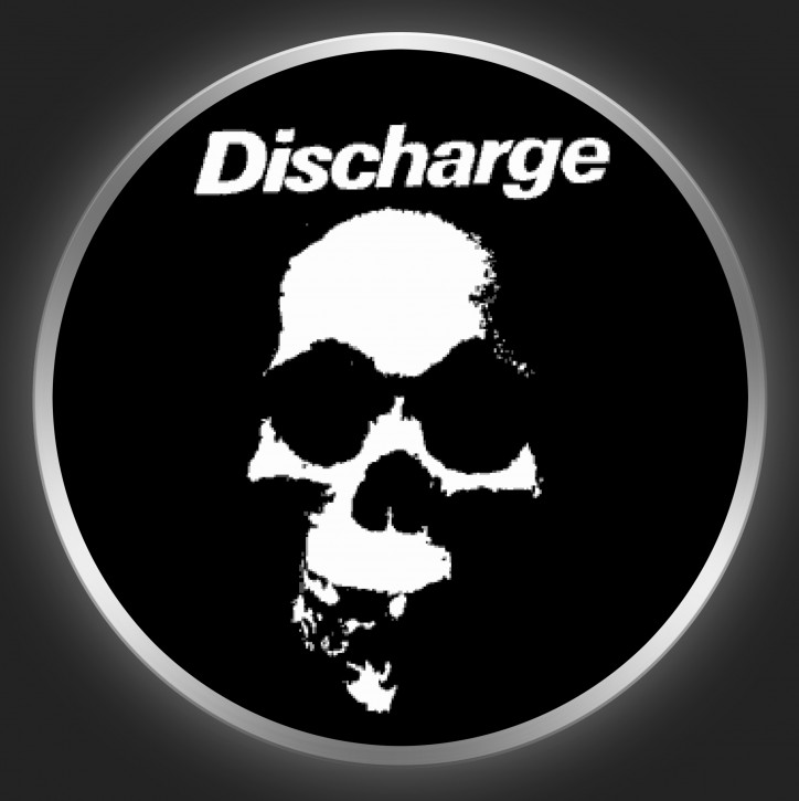 DISCHARGE - White Logo And Skull On Black Button