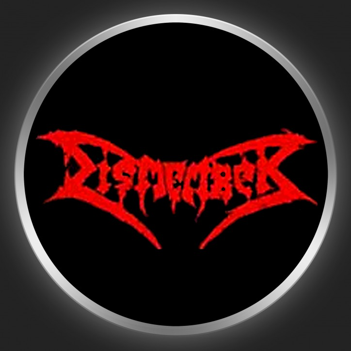 DISMEMBER - Red Logo On Black Button