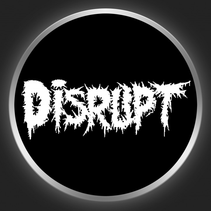 DISRUPT - White Logo On Black Button