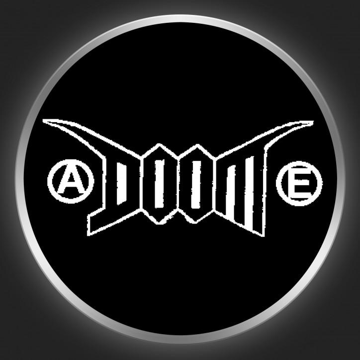 DOOM - White Logo On Black Button