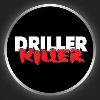 DRILLER KILLER - White / Red Logo On Black Button