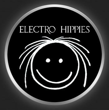 ELECTRO HIPPIES - White Logo + Smiley On Black Button