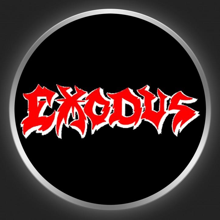 EXODUS - Red Logo On Black Button