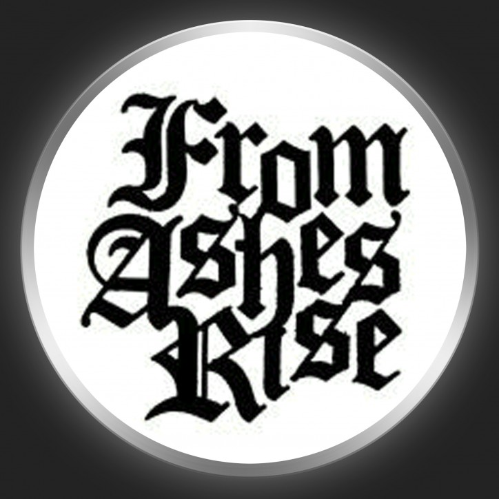 FROM ASHES RISE - Black Logo 3 On White Button