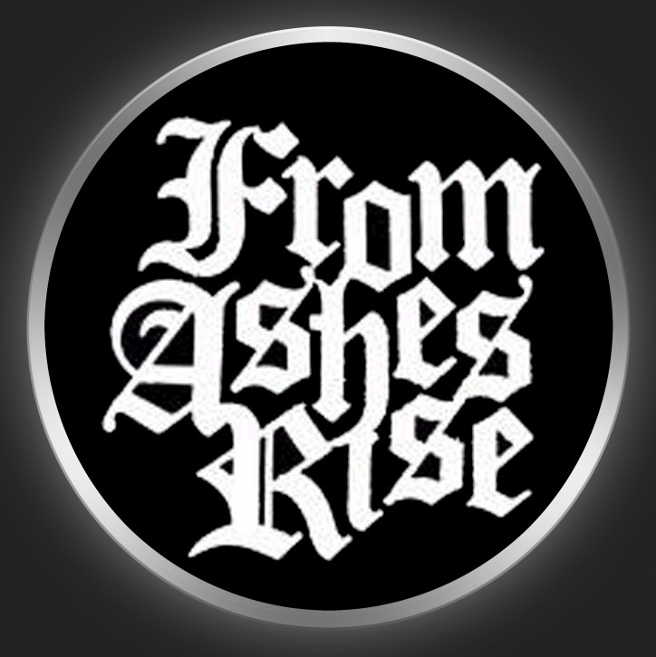 FROM ASHES RISE - White Logo 3 On Black Button