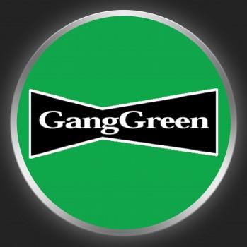GANG GREEN - White / Black Logo On Green Button