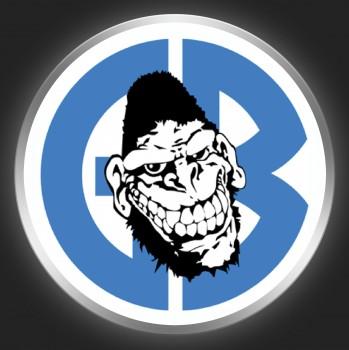 GORILLA BISCUITS - Blue Logo + Gorillahead On White Button