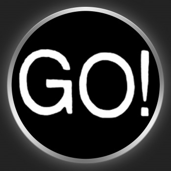 GO ! - White Logo On Black Button