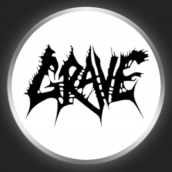 GRAVE - Black Logo On White Button